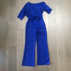 Cobalt Blue Single Shoulder Jumpsuit